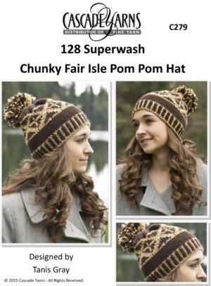 a652d25fd87 Chunky Fair Isle Pom Pom Hat by Cascade